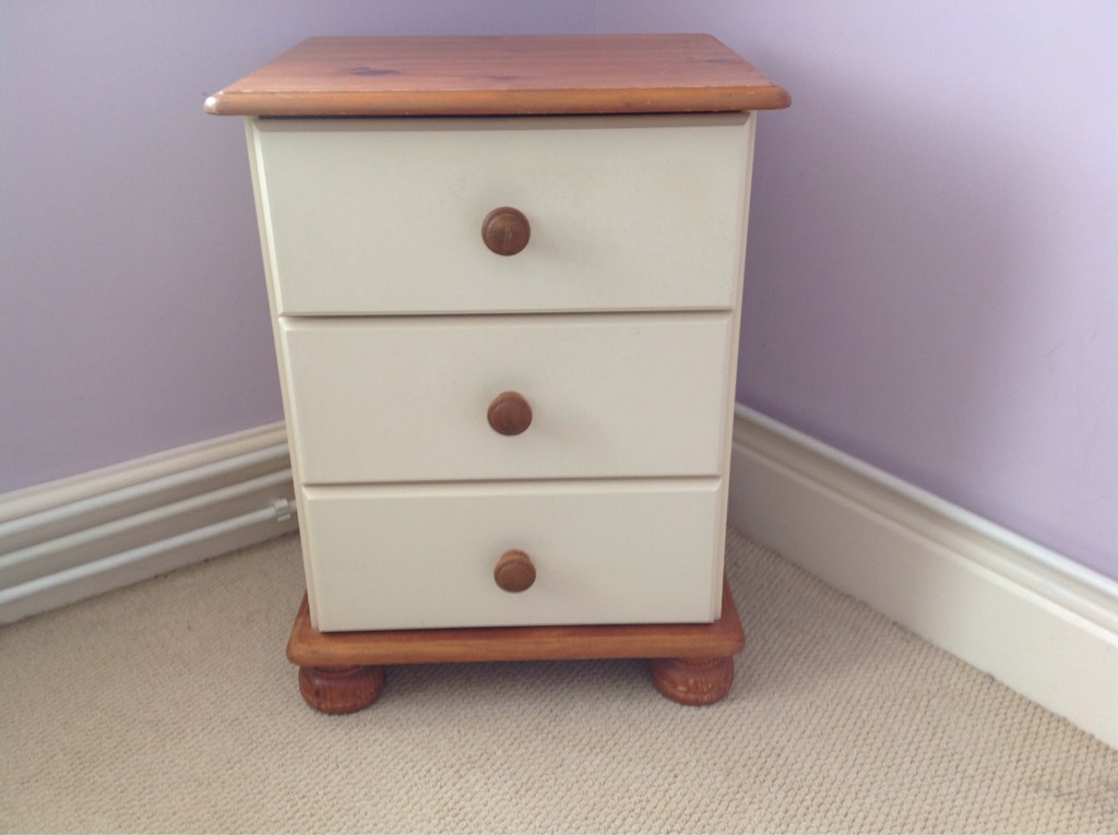 Cream and wood bedside cabinet