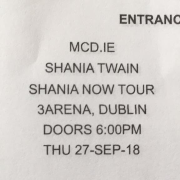 2 Shania Twain tickets Dublin