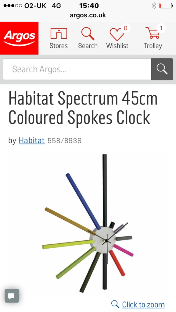 Habitat wall clock goes with any colour room