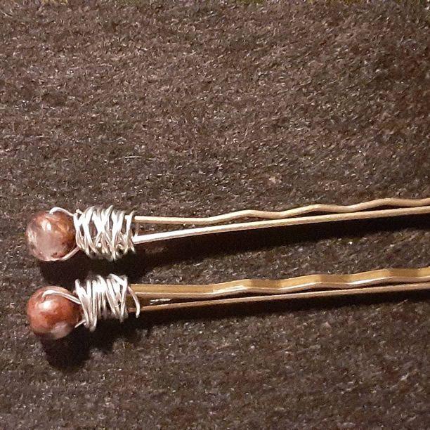 Gemstone hair pins