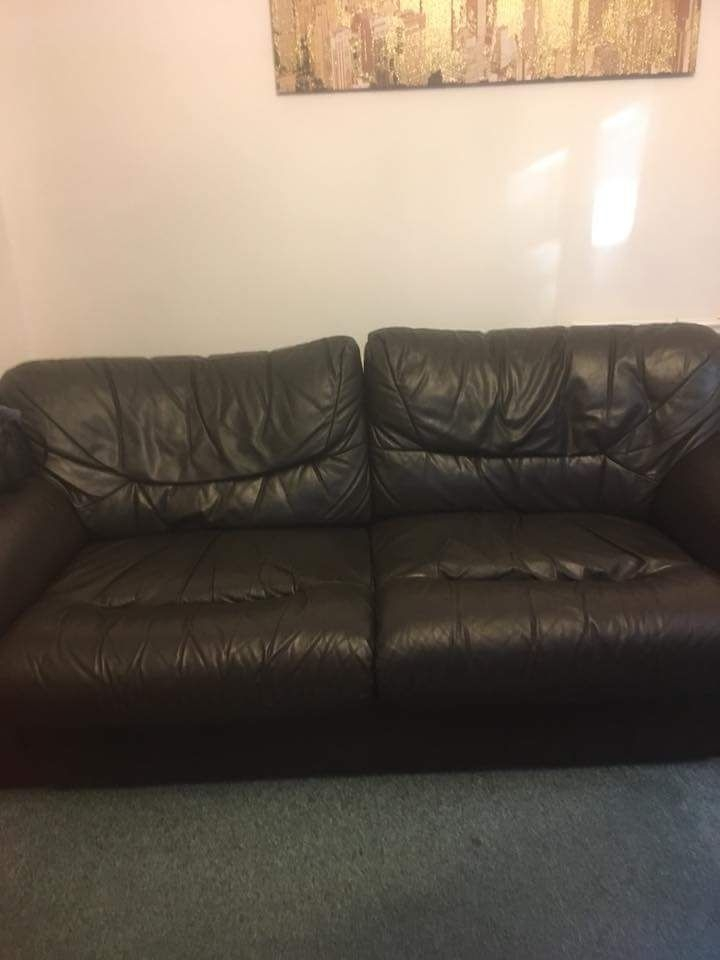 3 + 2 brown leather settee great condition