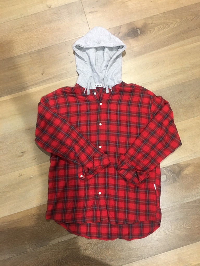 red and black check button-up hoodie