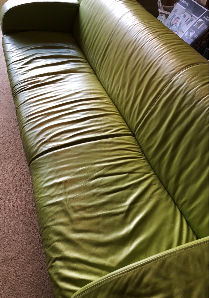 GENUINE LIME GREEN LEATHER THREE SEATER SOFA