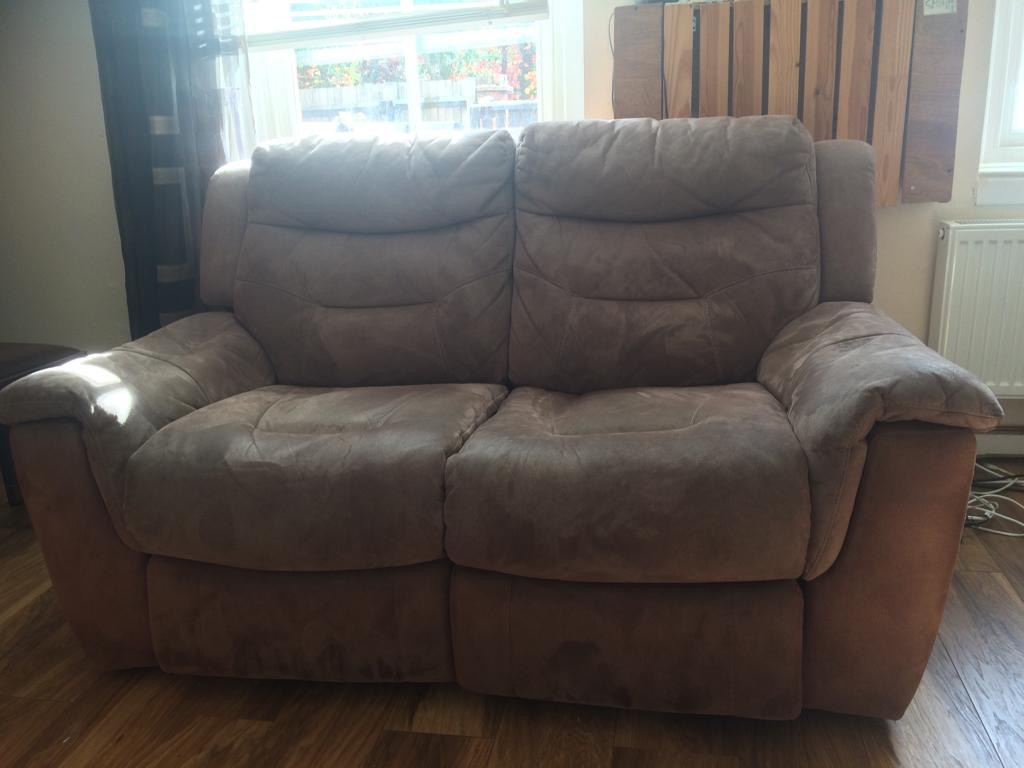 Brown electric recliner sofa