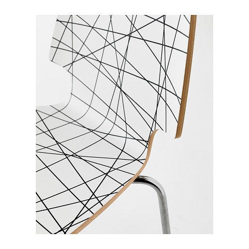 IKEA VILMAR - Chair, striped black, chrome-plated