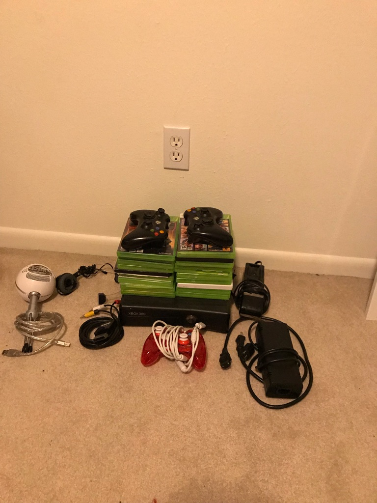 Xbox 360 w 3 controller, mics, and games