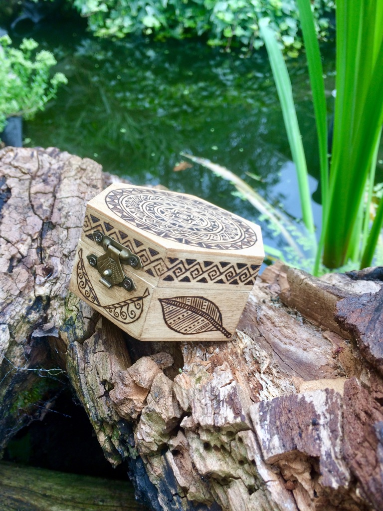 Mandala Hand Burned Wooden Jewellery Box with leafy patterns