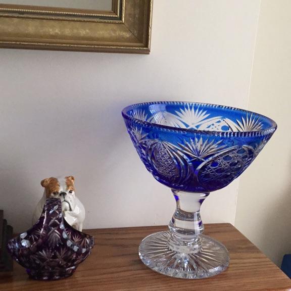 Two cut glass bowls colour blue
