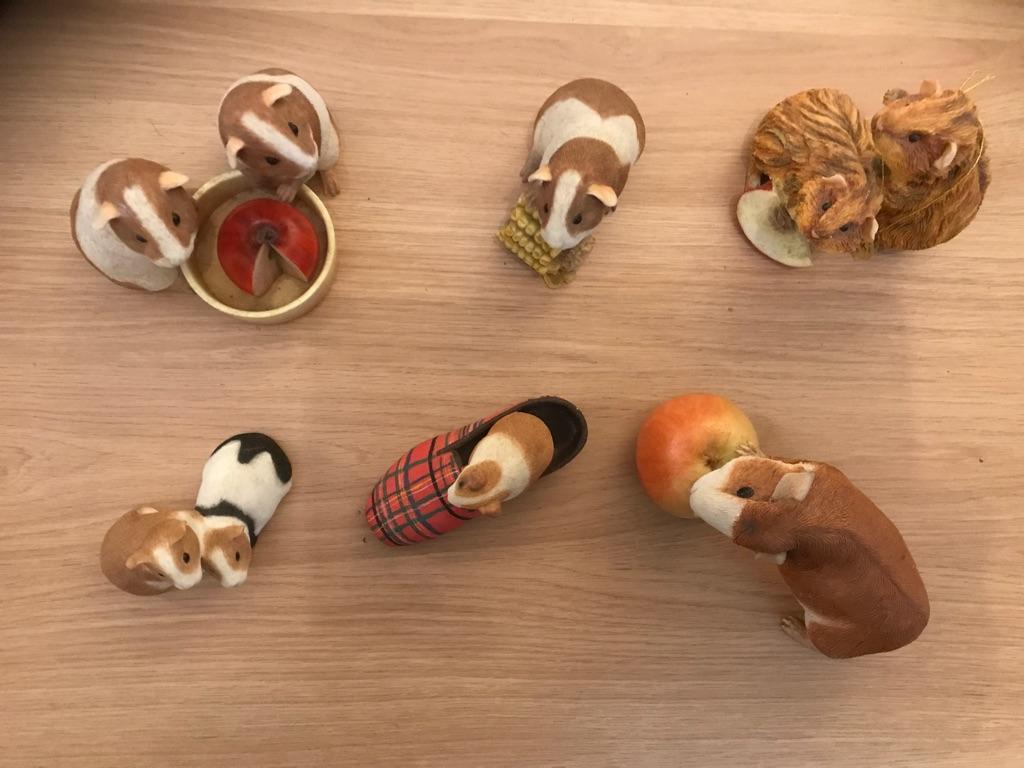 Six porcelain guinea pigs