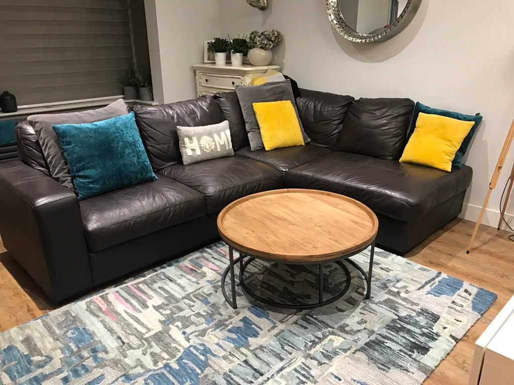 Brown large leather corner sofa for sale