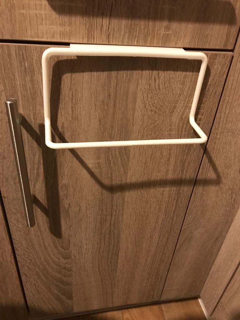 Over Cupboard Door Towel Holder- White