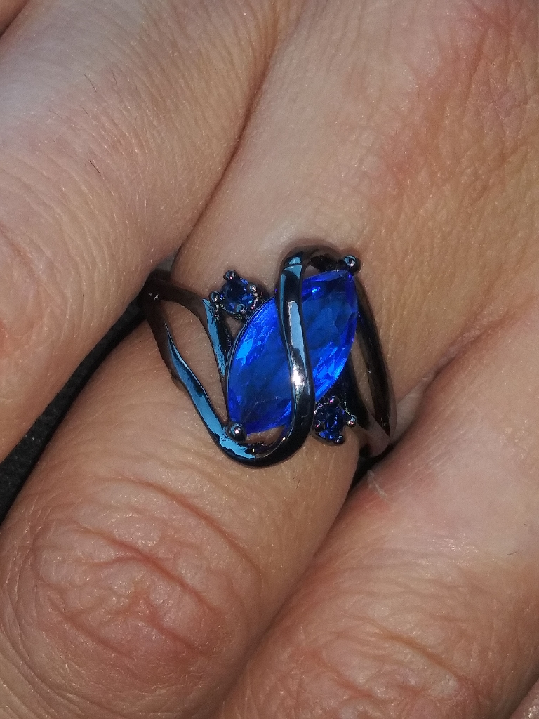 925 Silver Blue Sapphire womans ring.