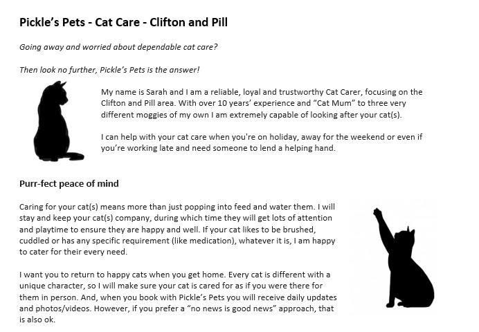 Pickle's Pets Cat Care