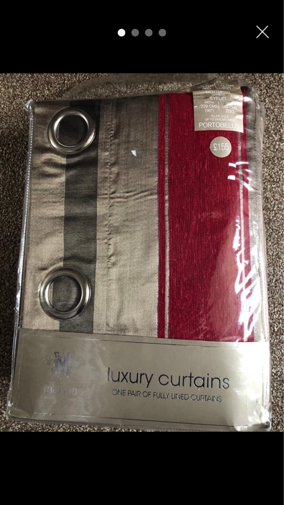 Luxury Curtains Red & Brown Striped (Larger)