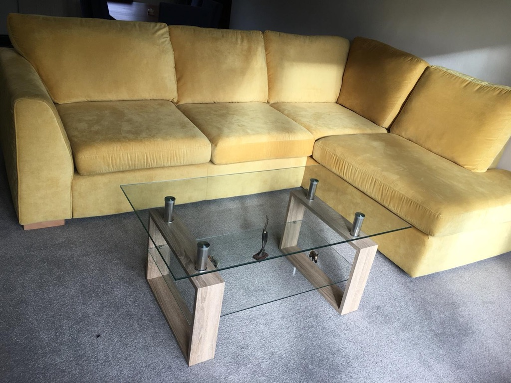 Dfs Perfect Quality Corner Sofa and Glass Living Room Table Together Only £650