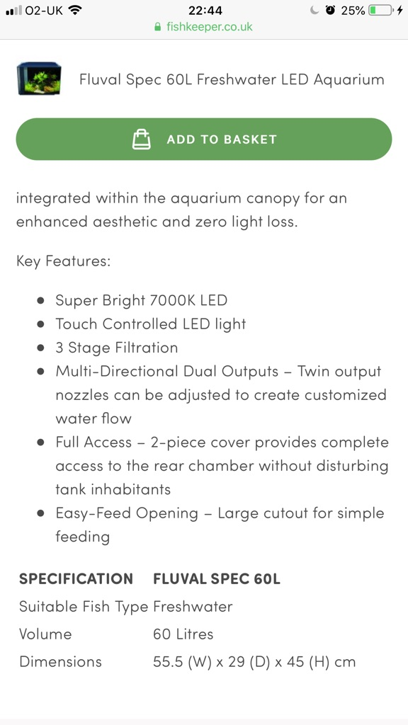 Fluval Spec Freshwater 60L LED Aquarium