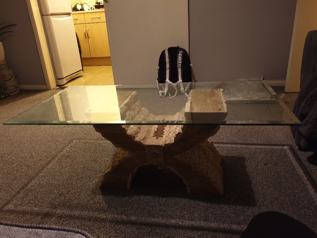 Coffee glass table with stone stand