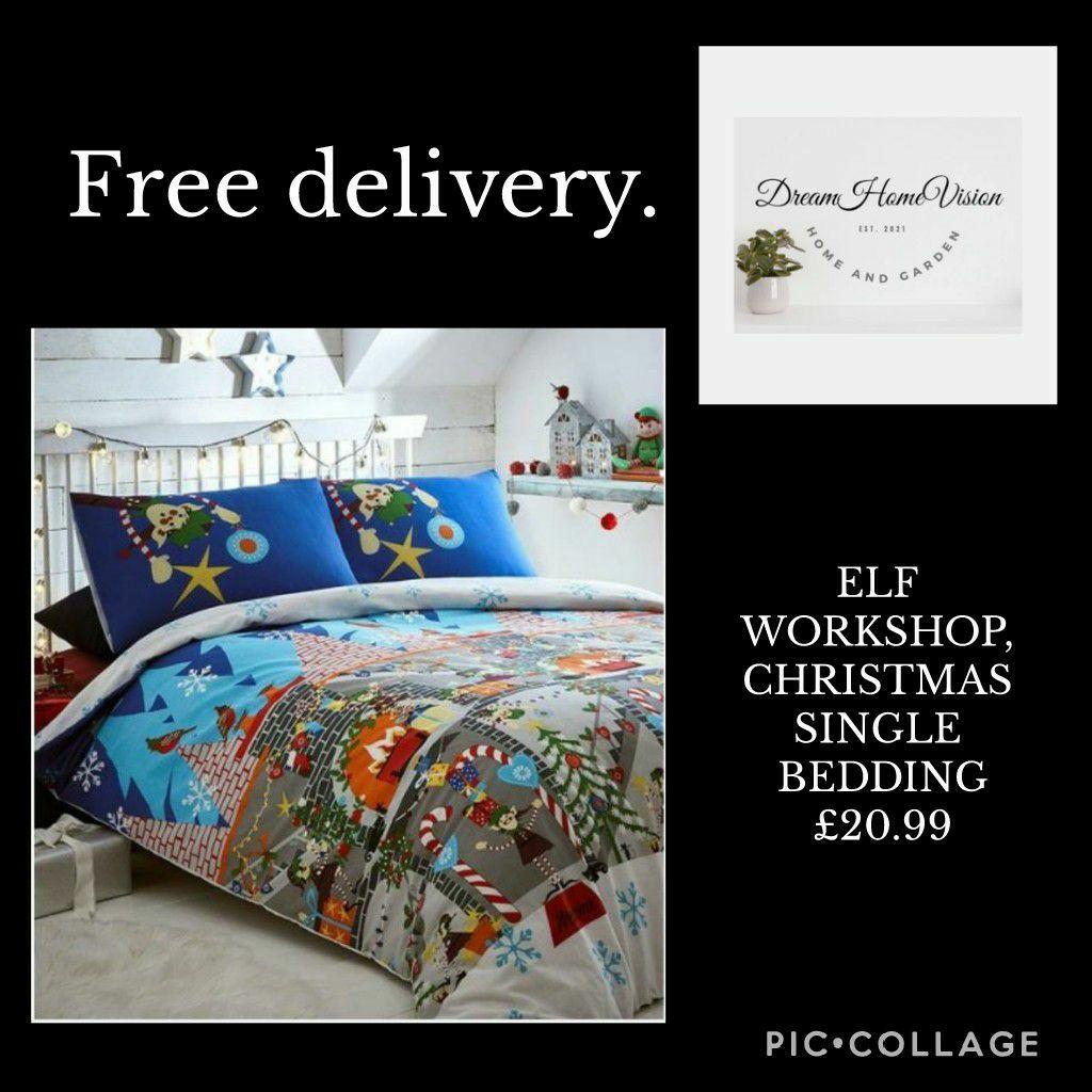 ELF WORKSHOP, CHRISTMAS SINGLE BEDDING
