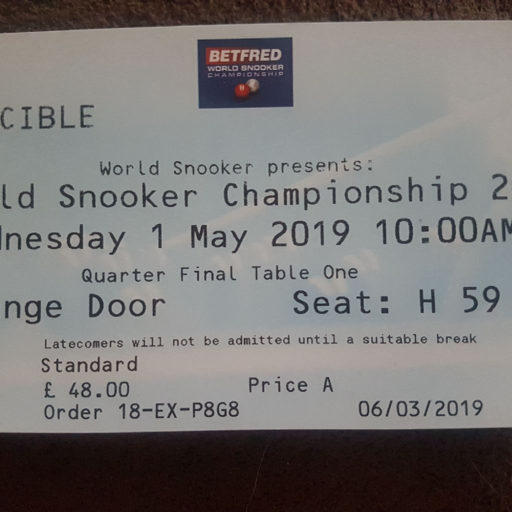Crucibile world championships snooker ticket