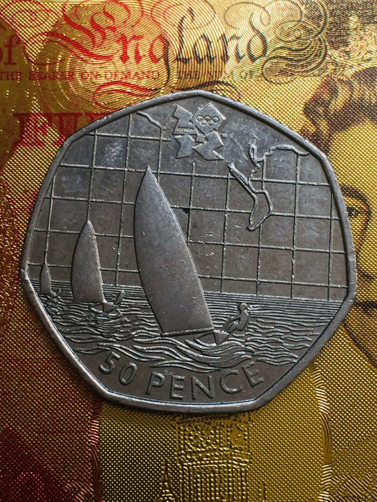 50p coin sailing Olympic Games 2011.