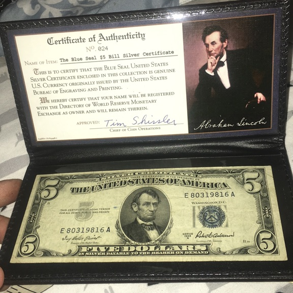 United states blue seal $5 silver certificate