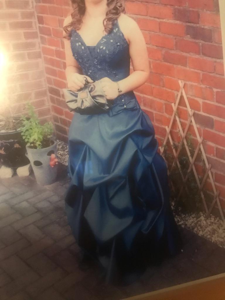 Navy Corset back Prom Dress