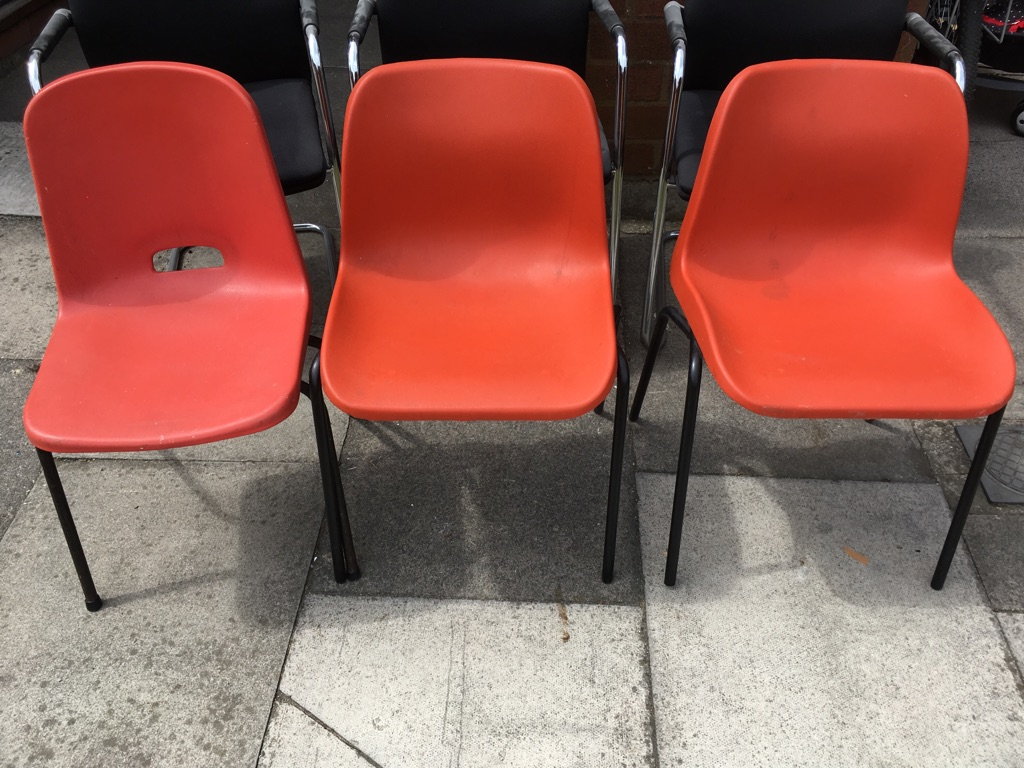 3x Orange chairs