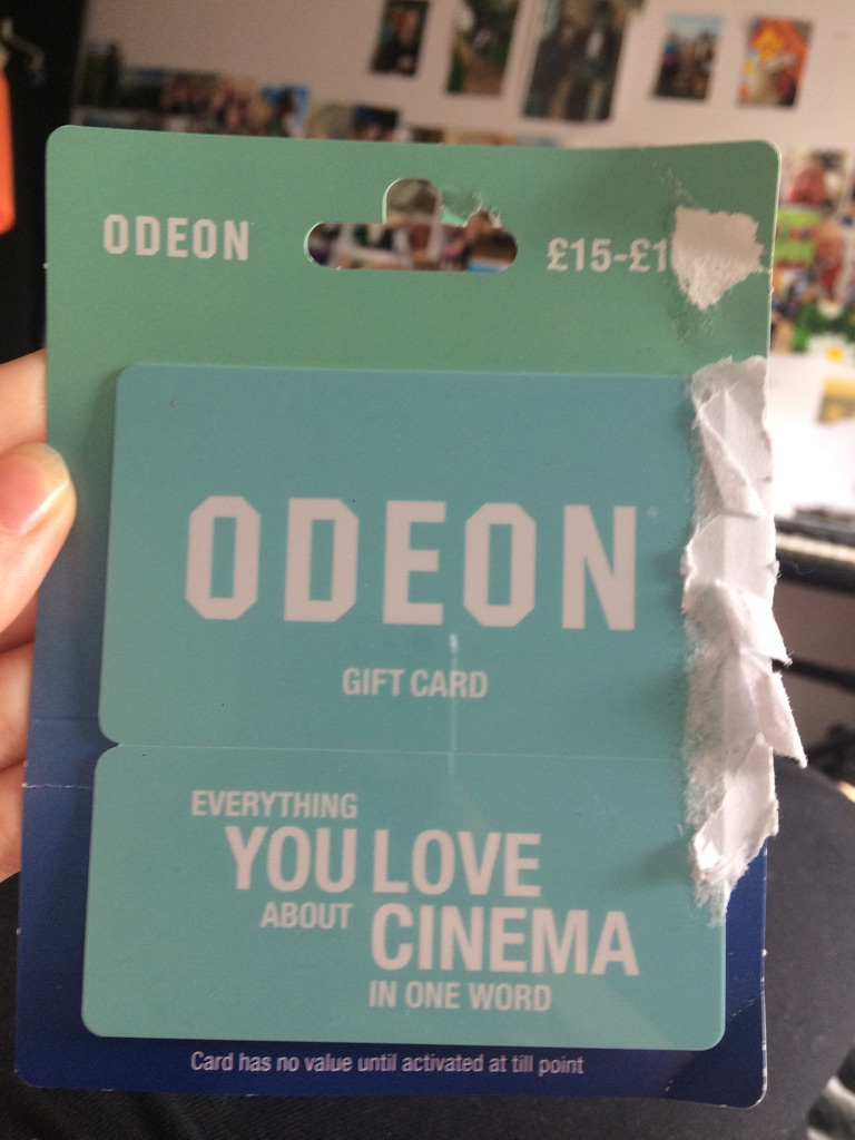 Odeon cinema gift card