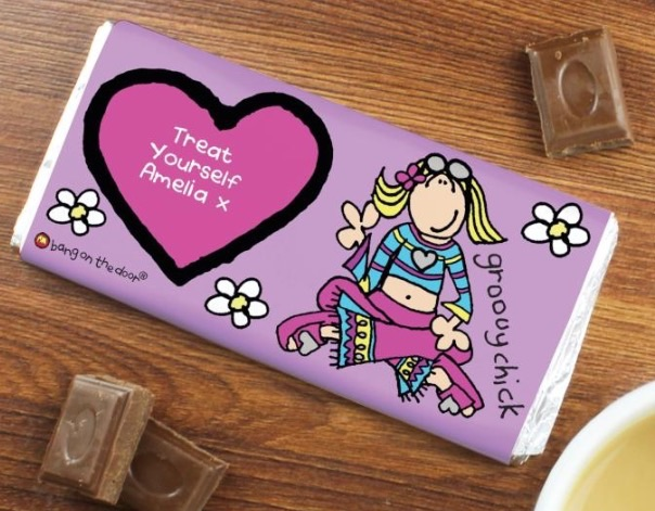 Personalised bang on the door groovy chick milk chocolate bar