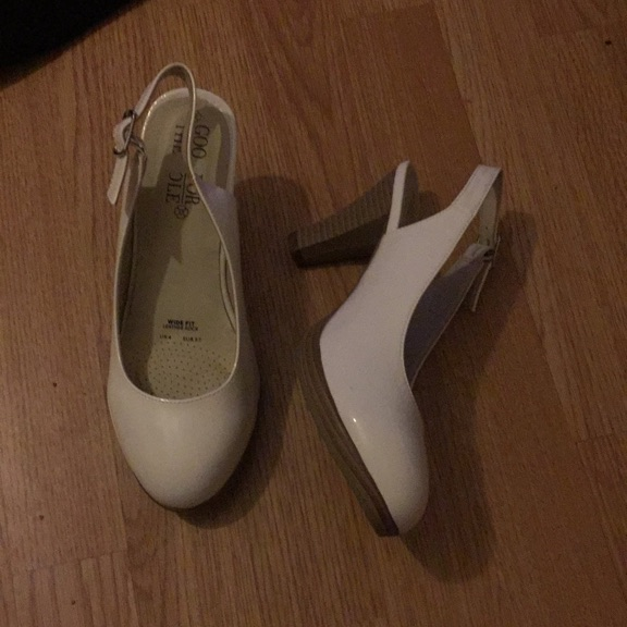 Ladies white sling backs