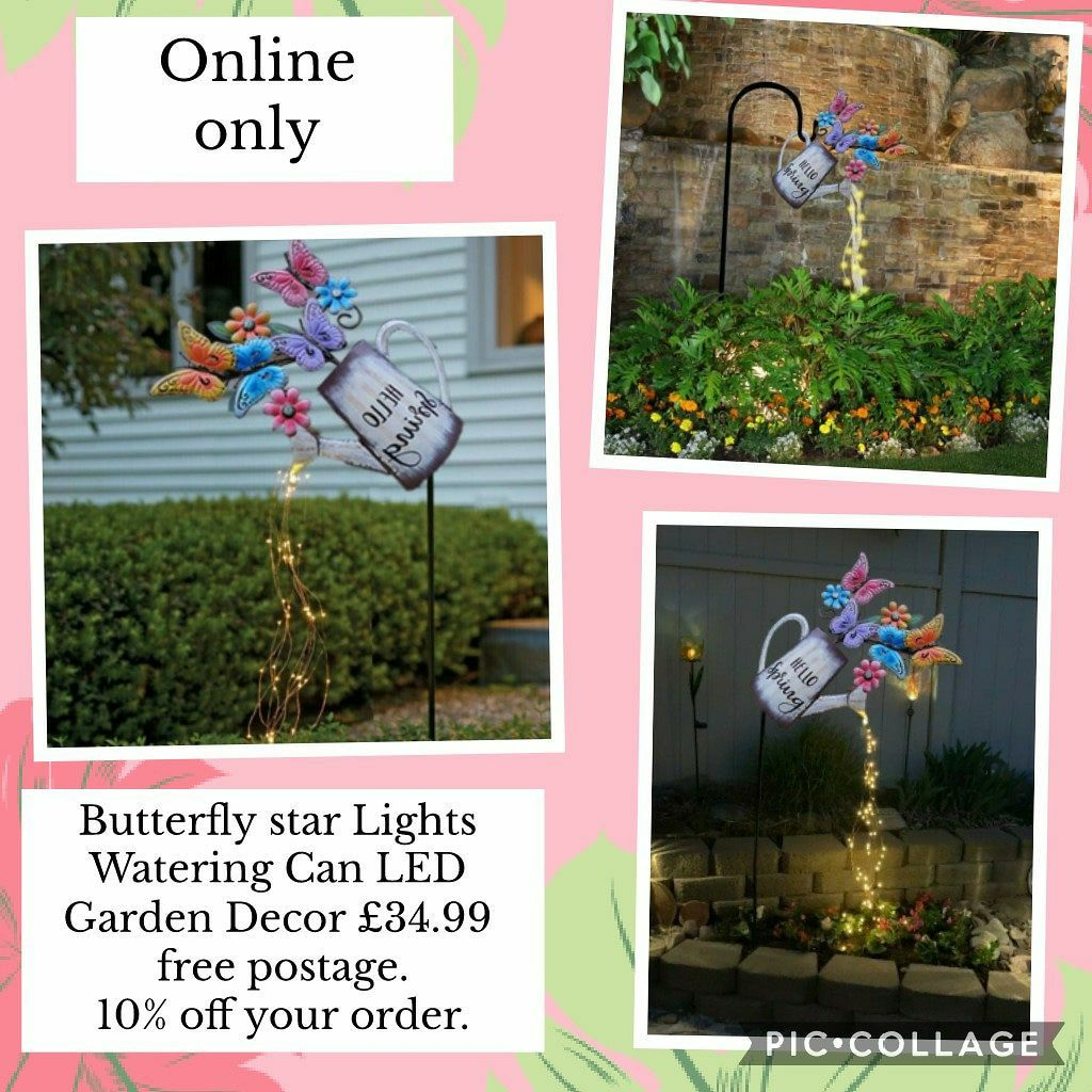 🦋💦Butterfly star Lights Watering Can LED Garden Decor