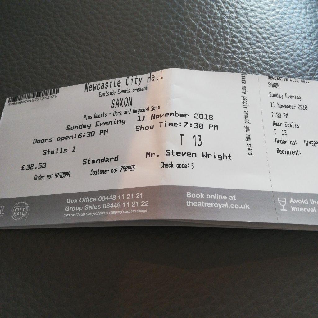 Saxon Concert tickets x 2