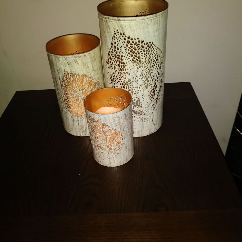 3 piece Candle Holder w/3piece Candle lamps