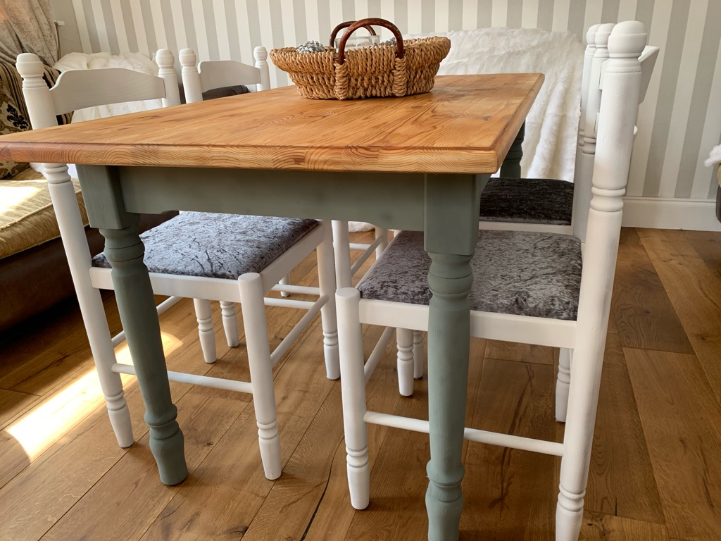 Shabby chic farmhouse pine dining table and chairs
