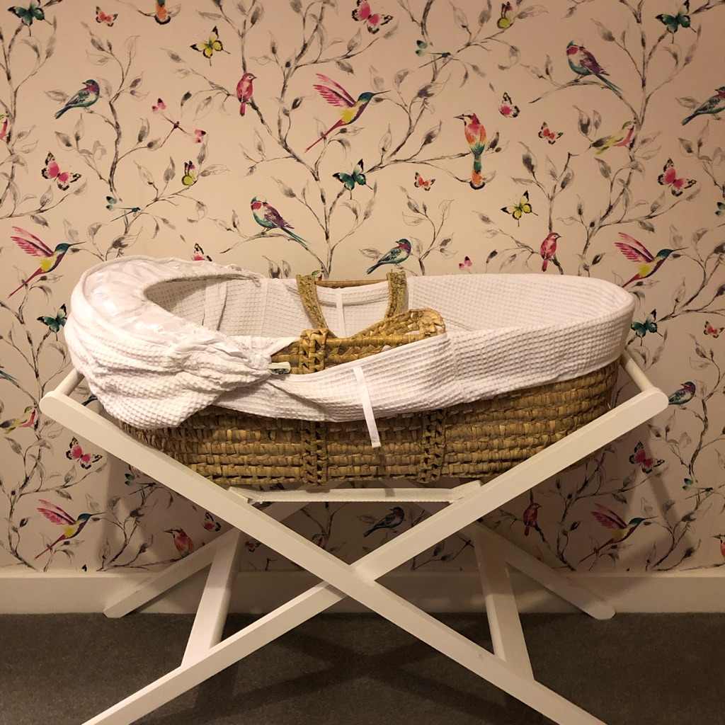 John Lewis wicker basket and white wooden stand