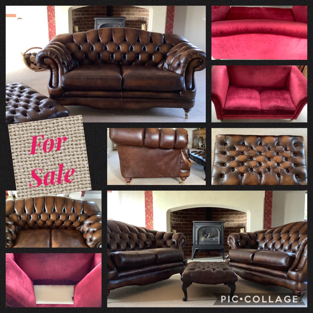 2 Leather Thomas Lloyd two seaters, and Laura Ashley raspberry red two seater