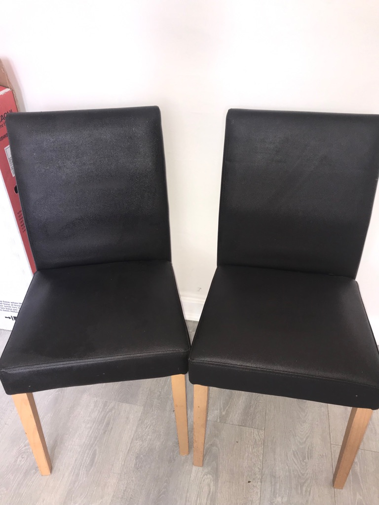 4 brown square back chairs