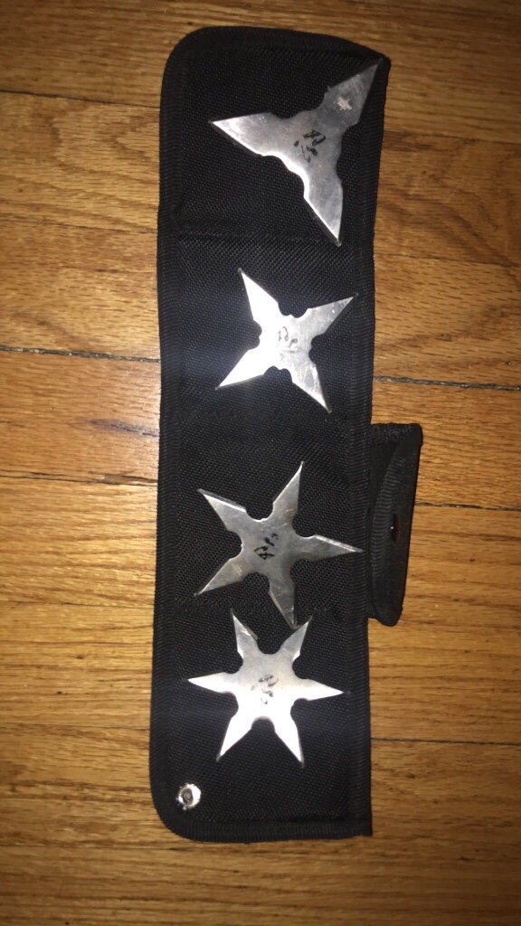 4 throwing stars with case includes
