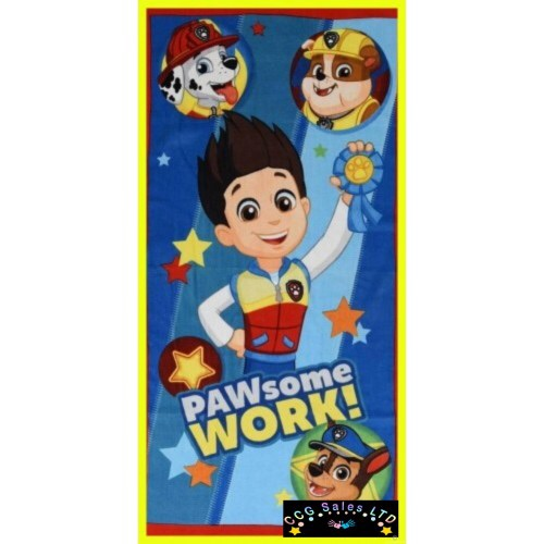 """Official PAW Patrol """"PAWSome Work"""" Character 100% Cotton Velour Beach Towel"""