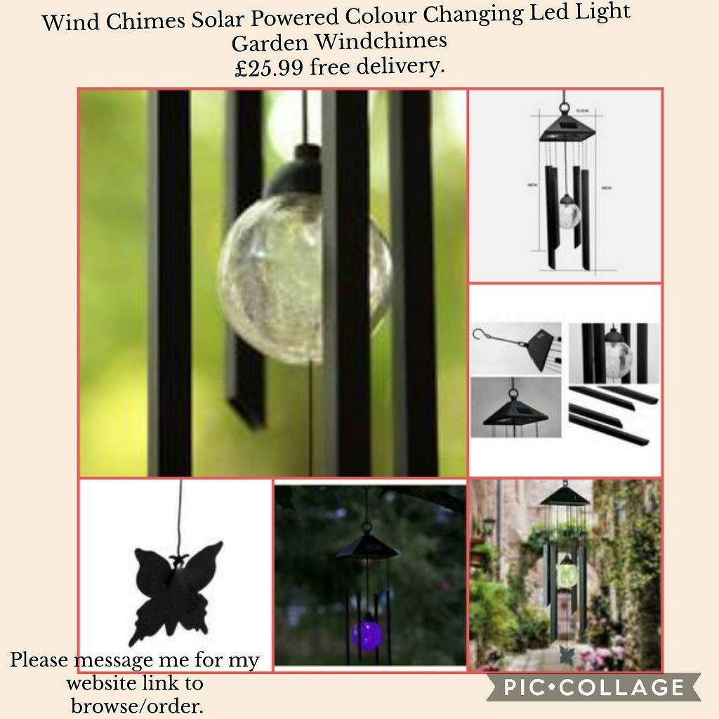 💥Wind Chimes Solar Powered Colour Changing Led Light Garden Windchimes 💥£25.99 🚛free delivery.