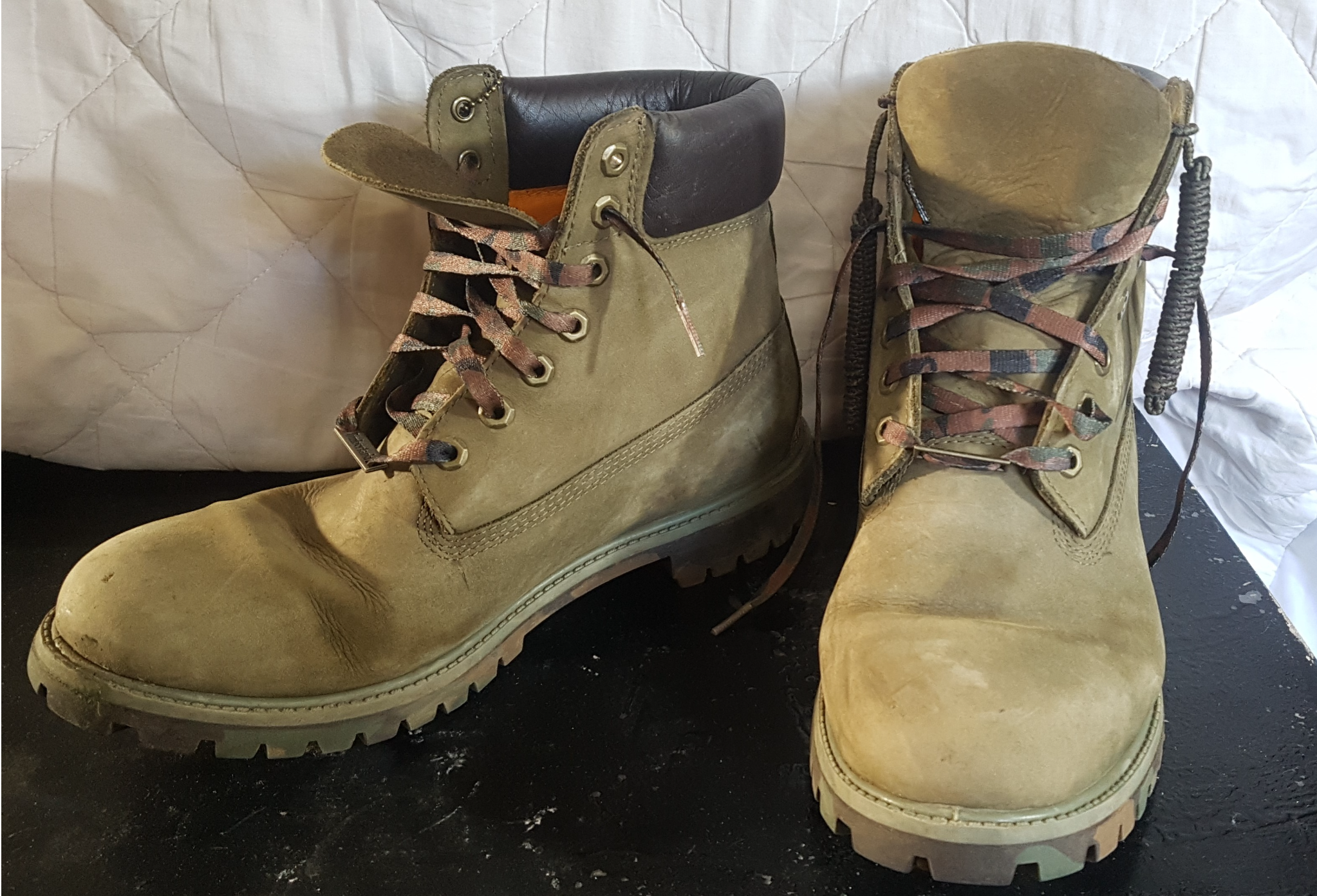 NUBUCK TIMBERLAND WATERPROOF BOOTS OLIVE/CAMO 11.5 UK **FREE DELIVERY IN LONDON**
