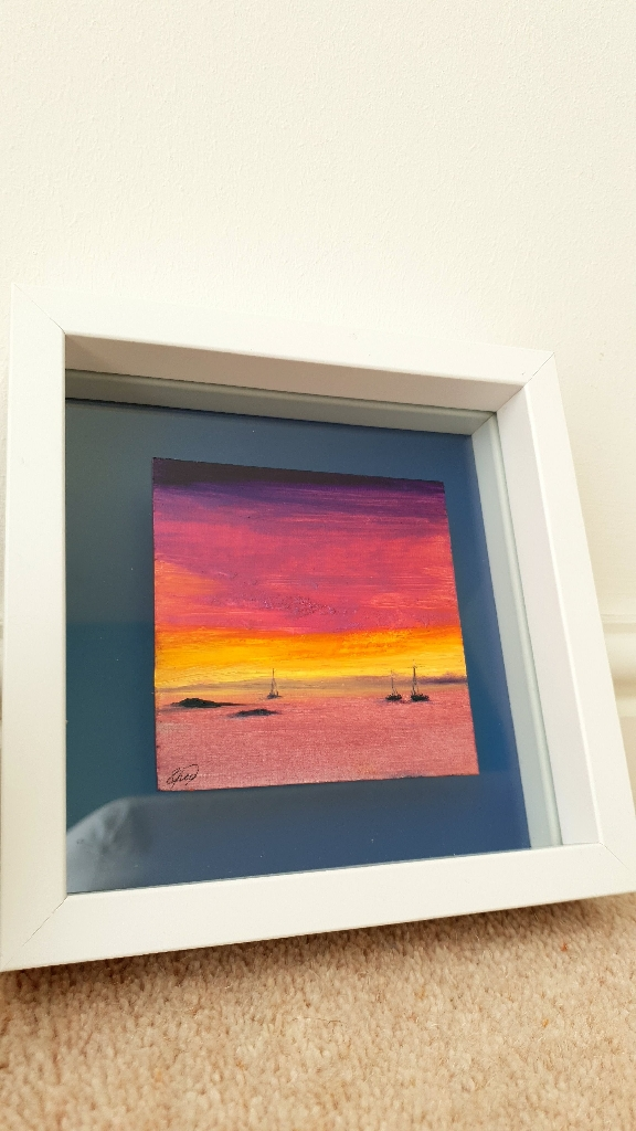"Oil painting on cotton canvas ""The sunset"""