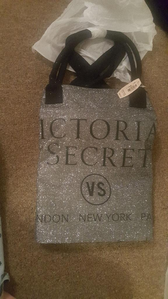 Black and silver Victoria secret bag