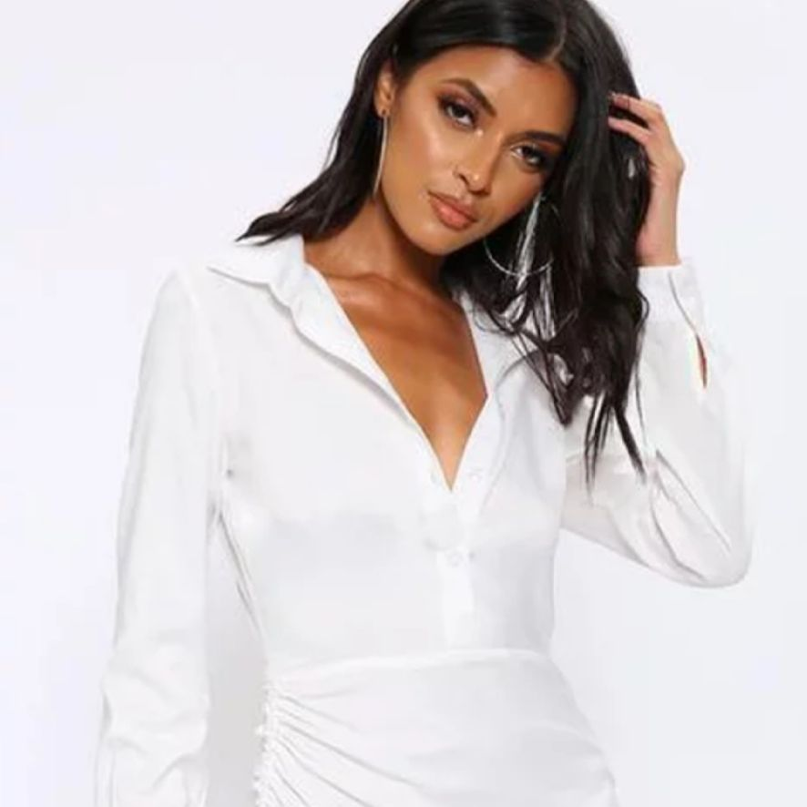 White Side Ruched Detail Shirt Dress