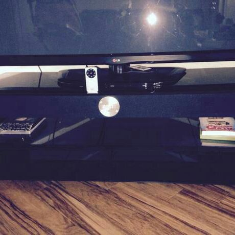 Tibo black glass tv unit built in surround sound system