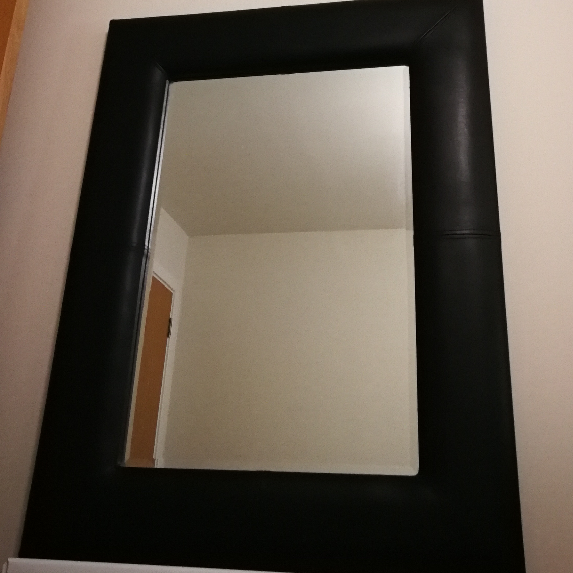 Large mirror with black cushion frame