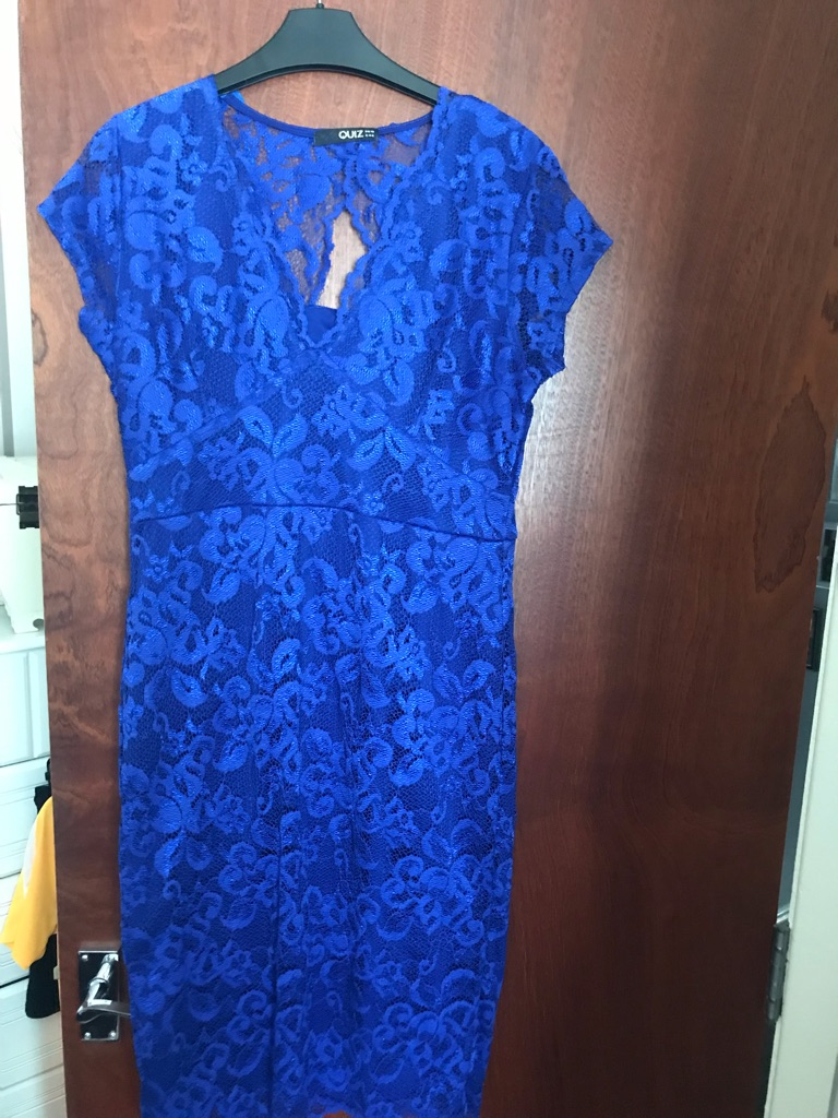 Ladies Quiz electric blue lace dress size 16