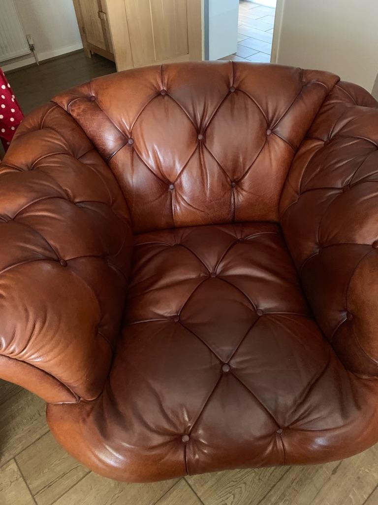 Chesterfield sofa, chair, footstool
