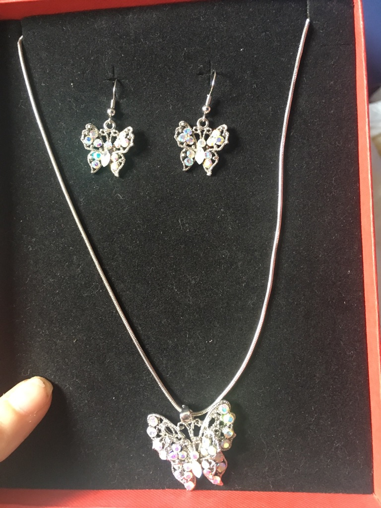 Woman's beautiful butterfly earrings and necklace gift set