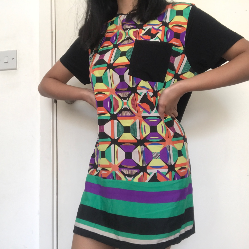 Colourful abstract shirt dress